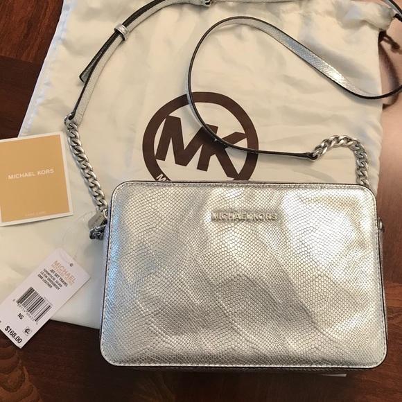 e915c4d57ffd MICHAEL Michael Kors Bags | Nwt Michael Kors Jet Set Silver ...
